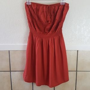 Forever 21 Plus strapless burnt orange dress Ox